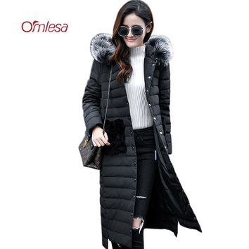 OMLESA 2017 New Arrive Winter Down Coat Women High Fashion Duck Down Puffer Jacket Fur Hooded Long Female Snow Parkas YQ253