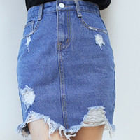 Blue Denim Pencil Mini Skirt