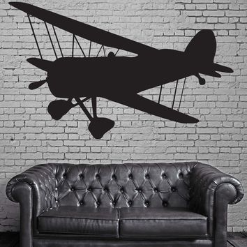 Large Vinyl Decal Vintage Airplane Propeller Two Wings Biplane Wall Sticker (n589)