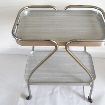 Art Deco Midcentury Tea Cart Midcentury Chrome by TheNewtonLabel