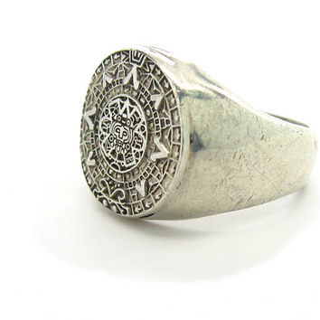 Aztec Calendar Ring. Mexican Zodiac Signet Ring. 950 Silver. Mayan Astrology. Skull. Mens Size 11.25+ Vintage Mexico Sterling Silver Jewelry