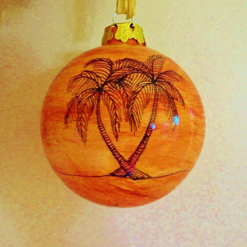 Christmas Ornament Holiday Ornament Coastal Ceramic Palm Trees