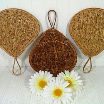 Set of 3 Bamboo & Seaweed Oriental Asian Inspired Style Fans - Vintage Indonesian Handmade Seagrass Woven Art Decor Handheld Fans Collection