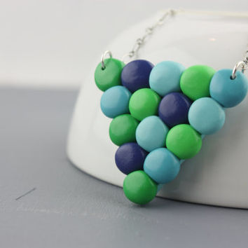 Geometric blue green dots necklace, triangle pendant, colorful fimo jewelry