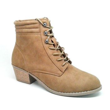 ONETOW Women's Camel Color Faux Leather Lace Up Boot