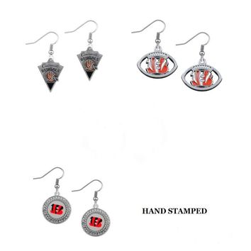 5 Pairs Enamel Cincinnati Bengals Alloy Fans Earrings Drop Earrings For Women Jewelry