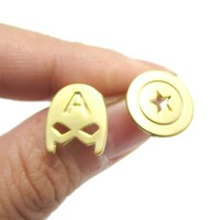 Captain America Mask and Shield Shaped Stud Earrings in Gold | Super Heroes Jewelry