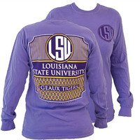 Southern Couture Preppy LSU Tigers Louisiana State University Comfort Colors Violet Girlie Long Sleeve Bright T Shirt