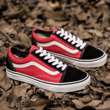 """Vans"" Casual Shoes red+GIFT Send free mesh socks"