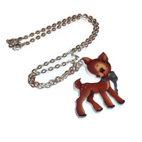 Vintage Deer Illustration Necklace, Cute Kawaii Fawn, Retro Animal Baby