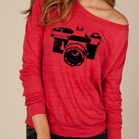 Camera OH SNAP Heathered Slouchy Pullover long sleeve Girls Ladies shirt sweatshirt silkscreen screenprint Alternative Apparel