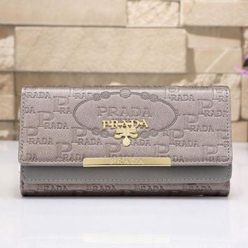 PEAPJ3V PRADA Women Fashion Leather Shopping Wallet Purse