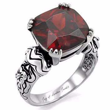 SALE A Perfect Celtic 4CT Cushion Cut Red Garnet Promise Engagement Wedding Ring