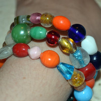 Memory Wire Bracelet With Colorful Glass Beads, Gypsy Bangles, Stack Bracelet