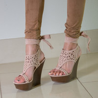 Nude A-Run Lace Up Wedges