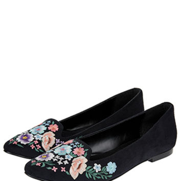 Accessorize | Embroidered Samantha Slipper Shoes | Black | 38 Shoe | 4952610338