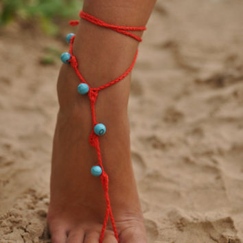 Red Crochet Barefoot Sandals with Turquoise stones, Nude shoes, Foot jewelry, Wedding, Victorian Lace, Sexy, Yoga, Anklet , Bellydance