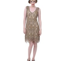 Unique Vintage 1920s Bronze & Pewter Belmonte Flapper Dress