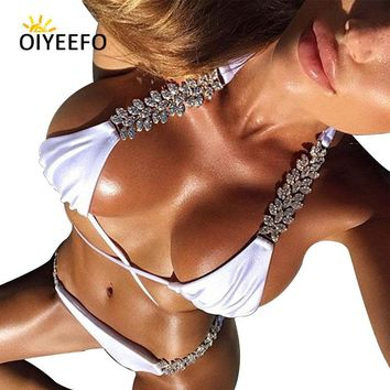 Oiyeefo White Bikini 2018 Luxury Shiny Rhinestone Swimsuit Gemstone Beach May Women Swimwear Female Bright Diamond Plavky Damy