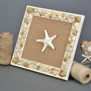 Starfish Wall panel Wooden frame with seashell and starfish Nautical decor Beach decor Wall decor Handmade panel