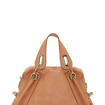 Chlo Light Tan Grained Leather Medium Paraty Bag