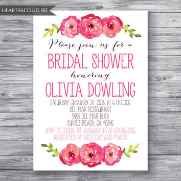 Printable Bridal Shower Invitation, WEDDING SHOWER INVITE, Floral bridal shower invitation, bridal invitation, bridal shower, Wedding Shower