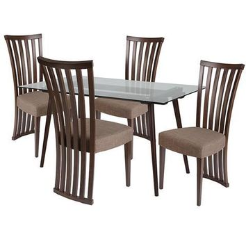 Lakewood 5 Piece Espresso Wood Dining Table Set with Glass Top and Dramatic Rail Back Design Wood Dining Chairs - Padded Seats