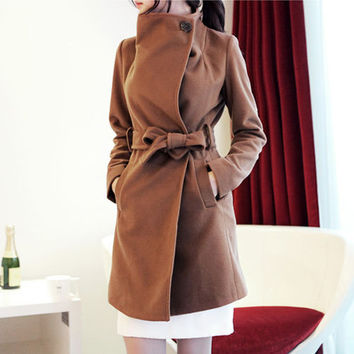 Solid Single Breasted  Long Sleeve Wool Coat
