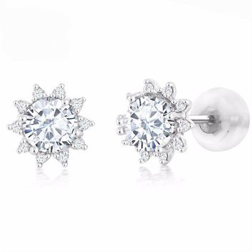 18K White Gold Diamond Stud Earrings Round 4mm White Created Moissanite 0.44 Ct