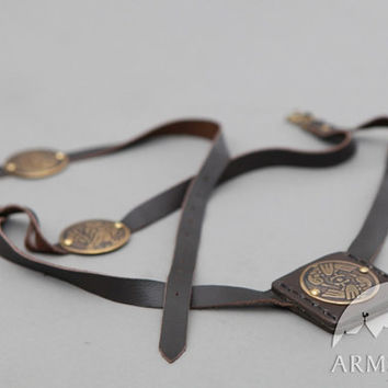 "Medieval Leather Belt and Frog with Handmade Brass Accents ""Archeress"""