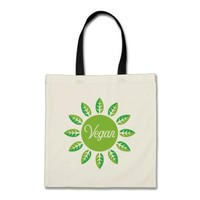 Vegan green leaf sun or flower stickers tote bag