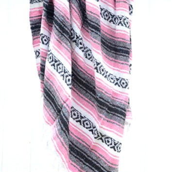 Authentic Mexican Blanket in Light Pink