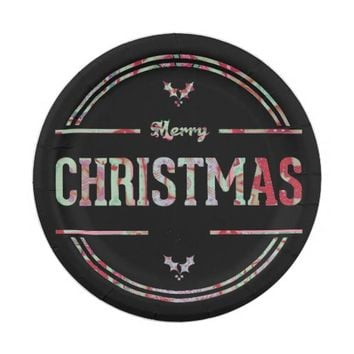 Merry Christmas Greeting Paper Plate