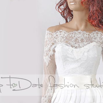 Off-Shoulder /high quality/wedding jacket/Bridal lace bolero/shrug/jacket /bridal lace top