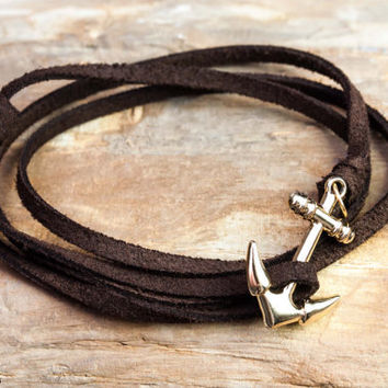 Nautical anchor rope bracelet - Knot wrap - Brown suede