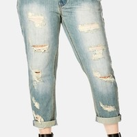 Plus Size Women's City Chic Distressed Crop Boyfriend Jeans,