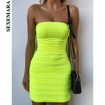 BOOFEENAA Neon Yellow Ruched Strapless Midi Bodycon Dresses For Women Fluorescent Sexy Bandage Dress Holiday Party Night Club