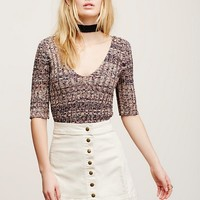 Free People Harnie Marled V-Neck Sweater