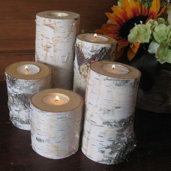 Birch  Candle Holders  Wedding Home Decor Rustic  Woodland Christmas Holiday Wood Log