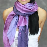 Purple Scarf - Silk Cotton Scarf - Hand Dyed Scarf, infinity, purple shawl, wrap, headband, scarf birthday present - bridesmaids gifts