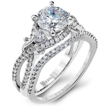 Simon G. Vintage Style Engagement Ring Set with 0.55 Carats Diamonds