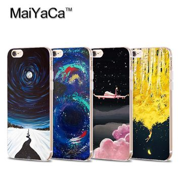 MaiYaCa Space Stars Fantasy Art Print Soft Transparent TPU Phone Case Accessories For iPhone 5 5s 6 6s 7 plus 6plus 6splus case