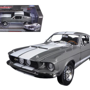 1967 Ford Shelby Mustang GT-350 Medium Gray Metallic 50th Anniversary Limited Edition to 1002pc 1-18 Diecast Model Car by Autoworld