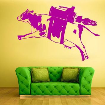 Wall Vinyl Decal Sticker Bedroom Modern Decal Cow Milk Funny Rocket Turbo Fly  z588