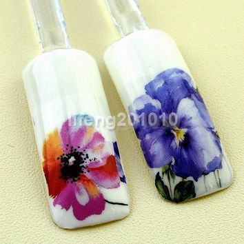 5PCS watercolor style water transfer nail stickers decals manicure nail art decoration tools beauty flower design 1405