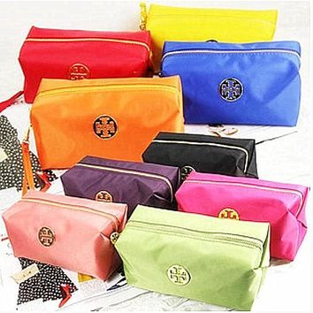 Fashion high-capacity portable receive candy color bag waterproof makeup bag Pink (9-color)