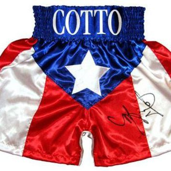 LMFON Miguel Cotto Signed Autographed Puerto Rico Boxing Trunks (ASI COA)