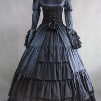 Replica Victorian Black Mourning Dress