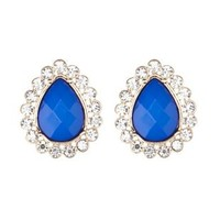 Cobalt Rhinestone-Trimmed Teardrop Stud Earrings by Charlotte Russe