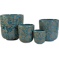 Paisley Blue Planters - Set of 4